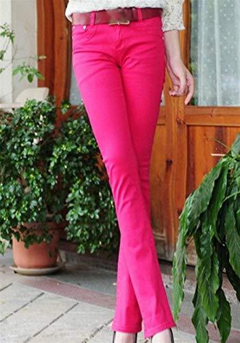 Micro Casuales Skinny 2 Color Rose Sólido Fit Mujer De Acampanados Pantalones Bolsillos Jeans Slim Casual Stretch Con Botón qwvUIg