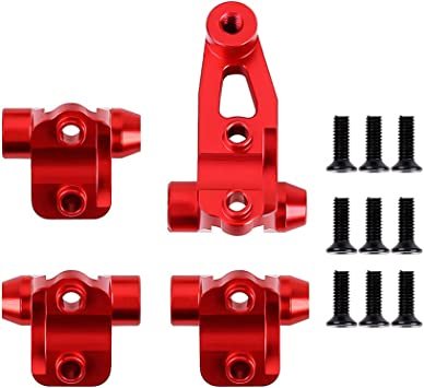 INJORA RC Montaje de Eje 4pcs RC Axle Mount Set para Enlace de Suspensión para 1:10 RC Crawler Traxxas TRX-4 (Rojo)