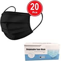 100 pcs Disposable three Layer Face Protection Surgical Hygiene Dental Dust Smog Cleaning (Black 20pcs)