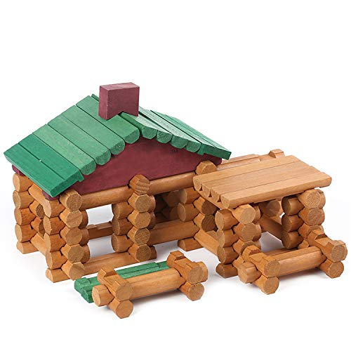 Wondertoys 90 Piece Classic Wood Cabin Logs Set Building Toy for Children Educational Gifts -
