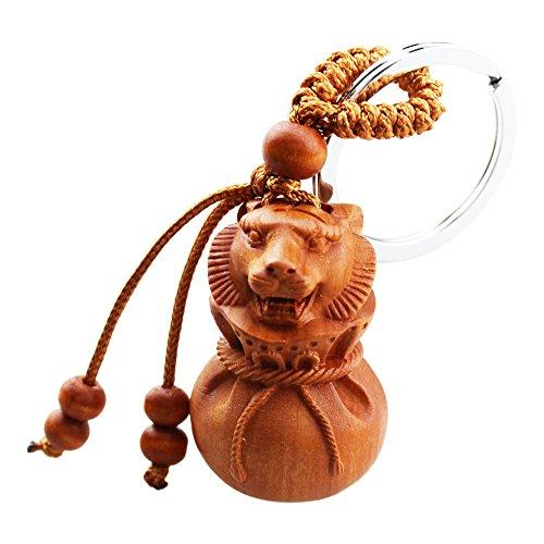 FOY-MALL 12 Zodiac Tiger Jujube Wood Carved Men Women Keychain Rings M1250