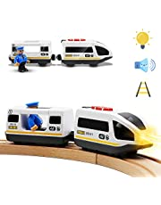 Battery Operated Action Locomotive Train (Magnetic Connection)- Powerful Engine Bullet Train Set Fits Thomas, Brio, Chuggington Wooden Train and Tracks- Toys Car for Toddlers
