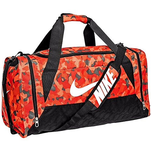 79672db4ba53f Nike Brasilia 6 Duffel Bag Orange Camo Black White Size Medium ...