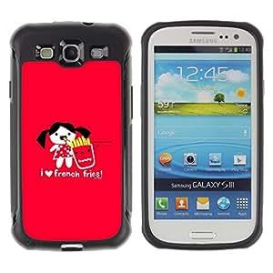 All-Round híbrido Heavy Duty de goma duro caso cubierta protectora Accesorio Generación-II BY RAYDREAMMM - Samsung Galaxy S3 I9300 - Love Funny Junk Food Cartoon Red Heart
