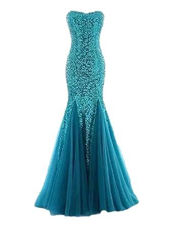 Raniwish Sparkly Evening Prom Ball Gown Sequins Mermaid Long Formal Dress -2-Aqua