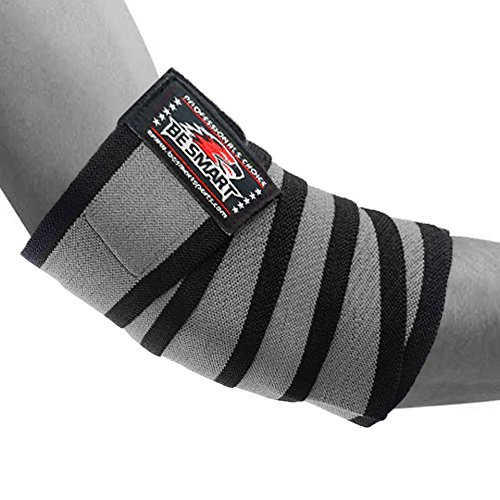 HEAVY DUTY ELBOW SLEEVES SUPPORT WRAPS STRAPS GYM POWER WEIGHT LIFTING PAIR (Gray 1 Stripe, One Size) by BeSmart (Image #2)