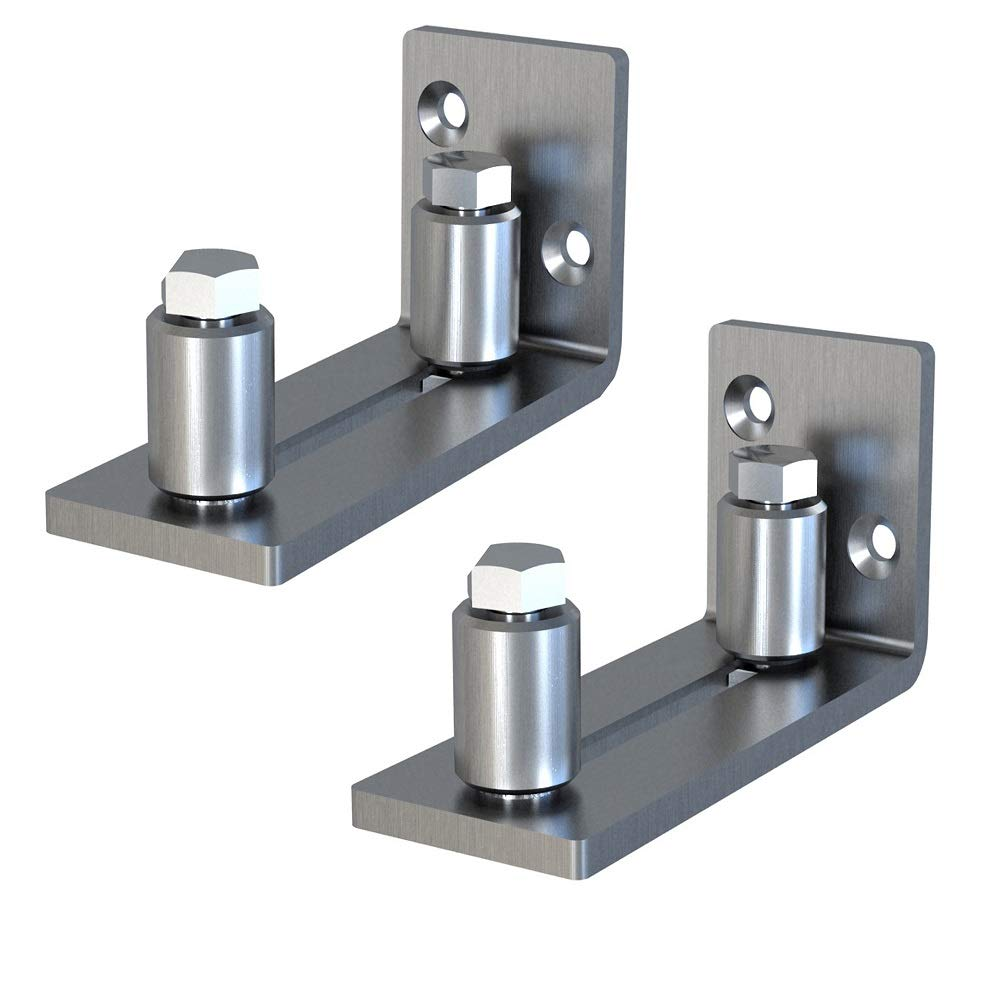 2 Pack Scratch Resistant Stainless Steel Flush Mount Stay Roller Wall Mount Floor Guide for Door Thick Up to 2 1/8 inches