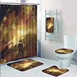 AmaPark 5 Piece Bathroom Rug Set/ 3 Piece Bath Rugs with Fabric Shower Curtain and Bath Towel,House Decor Cosmonaut Boy Standing Against Cosmos Nebula Themed Solar Artprint Tan Black Bathroom Sets