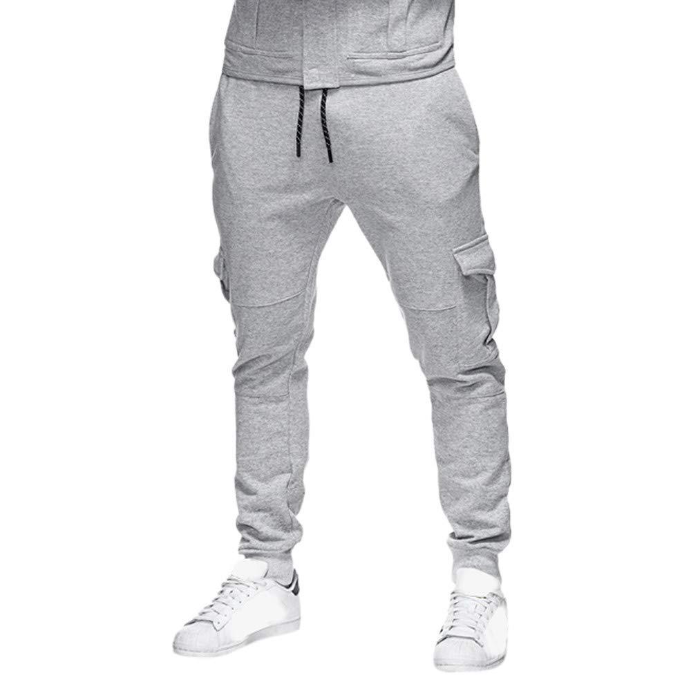 iZHH Men Sweatpants Slacks Elastic Sport Baggy Pockets Trousers Pants