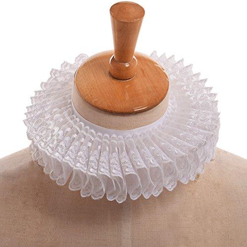 GRACEART Elizabethan Ruffle Collar Scarf with White (Elizabethan Dress)