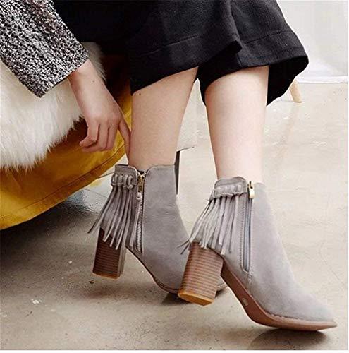 Eu Da Sed Round Head Scarpe 'boots Low Ladies Lavoro Zippers Tassels TSAIqE
