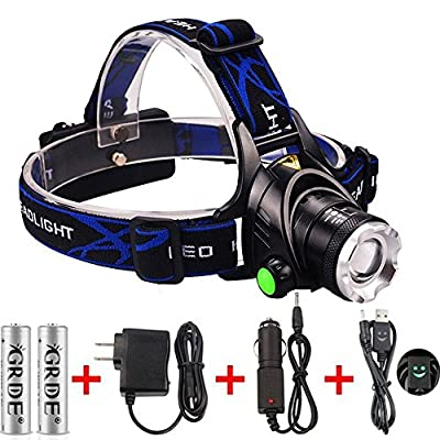 Super Bright 5000 Lumens 3 Beads 4 Modes Led Headlight ; Comfortable Wearing Led Headlamp , Hands-free Head light With 2 Rechargeable 18650 Batteries Waterproof Head Lamp