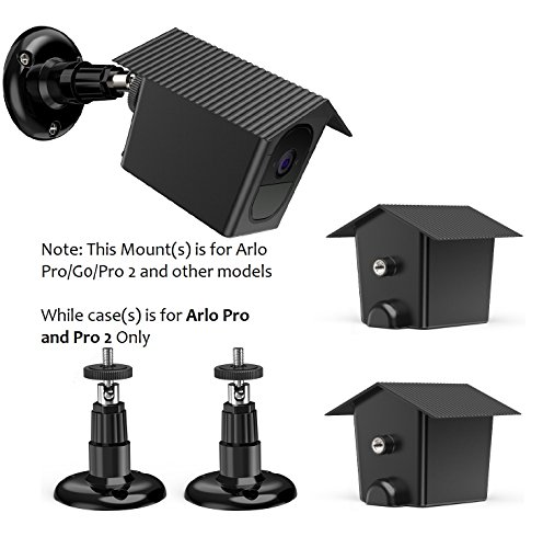 Adjustable Accessories Kit for Arlo PRO Camera - OkeMeeo Arlo PRO Case(2PC) and Arlo Camera Mount(2PC) - Waterproof Arlo Netgear Security Wireless Cover Case Indoors Outdoors Wall Mount Black by OkeMeeo