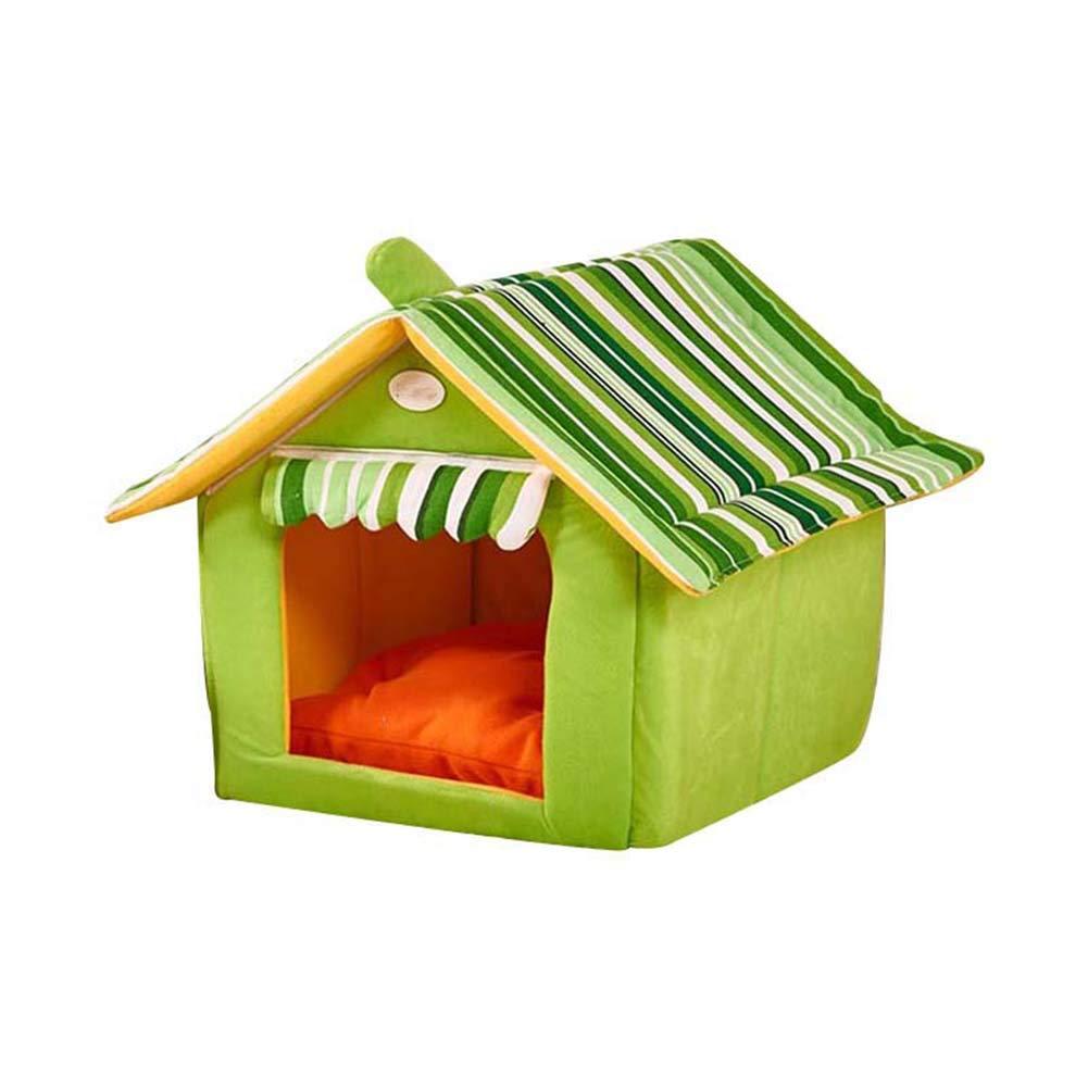Green Large Green Large Zoomarlous Plush Pet House,Dog Bed Pet House Foldable Soft Warm Sponge Cave Cute Dog Beds Kennel Nest Plush Cat Tent