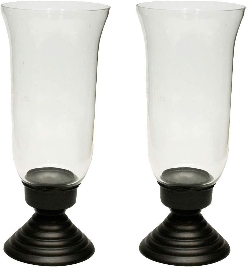 Amber Home Goods Collection Hurricane with Traditional Chimney Candle Holder Functional Table Decorations Centerpieces for Dining/Living Room Best Wedding Gift Accent Décor (Set of 2) Small