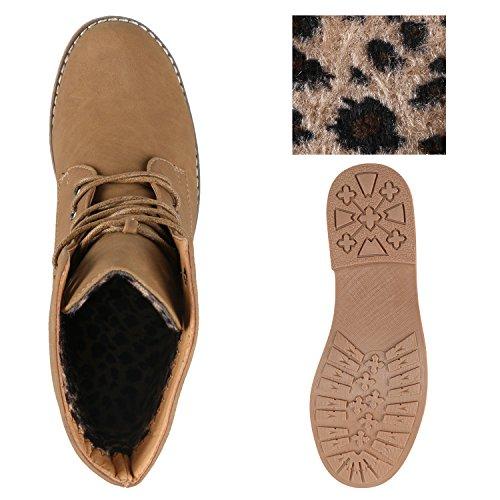 Stiefelparadies Damen Schnürstiefeletten mit Blockabsatz Profilsohle Flandell Khaki All Bernice