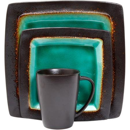 Evergreen Dinnerware Collection - Gibson Everyday Ocean Oasis 16-Piece Dinnerware Set, with Stylish and Colorful, Elegant and Sophisticated Turquoise and Black Color