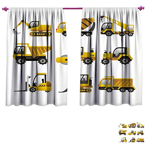 - Construction Waterproof Window Curtain Big Vehicles Icon Collection Engineering Building Theme Clip Art Style Decorative Curtains for Living Room W96 x L72 Yellow Grey White