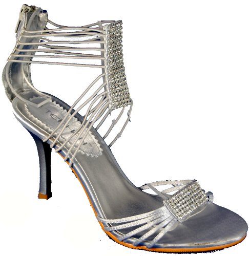 up heel colour By diamante and satin with stiletto strappy matched Silver shoe zip Stunning Stephan evening back 1Y6pOTqq