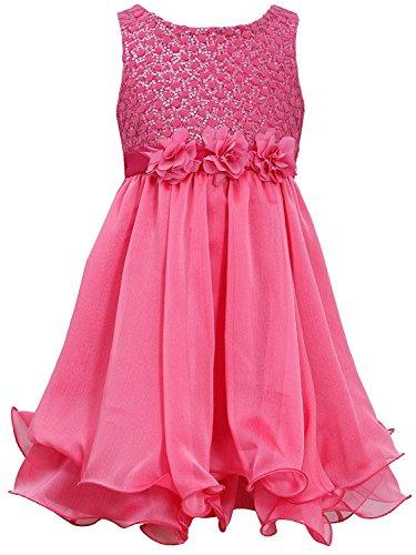 Little Girls 4-6X Fuchsia-Pink Sequin Flock Dot Wire Hem Yoryu Chiffon Dress (6, Fuchsia) (Sequin Dot Trim)