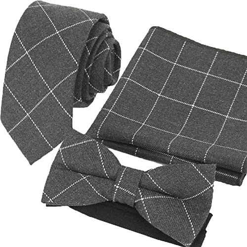 Flairs New York Flannel and Tweed Collection Neck Tie (Charcoal Grey/Silver [Plaids])