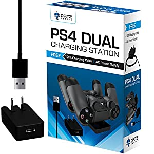Ortz PS4 Charging Station + FREE 10ft USB Cable w/ AC Adapter Included - Best Charger Dock Stand Base - Charge Playstation 4 Controllers - Works with PS4 Dual Shock Wireless Controller