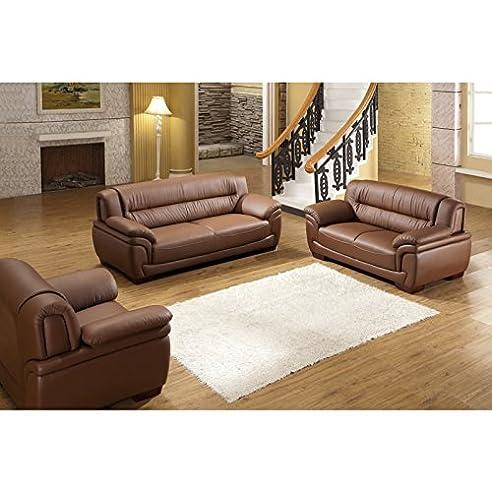 Polstermöbel leder  Design Voll-Leder-Sofa-Garnitur-Polstermöbel-Sessel 321-3+2+1 ...