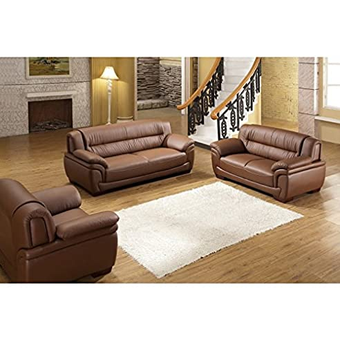 Design Voll-Leder-Sofa-Garnitur-Polstermöbel-Sessel 321-3+2+1 ...