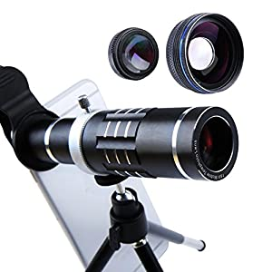 Cell Phone Lens 18X Telephoto Lens Super Wide Angle Lens Macro Lens 3 in 1 Phone Camera Lens Kit with Universal Clip and Mini Flexible Tripod for iPhone Samsung and Most Smartphones