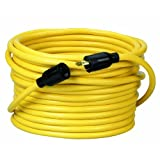 Coleman Cable 9208 12/3 SJTW Twist to Lock Extension Cord, 20-Amp, 50-Foot, Yellow