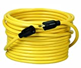 Coleman Cable 09208 NEMA L5-20P to L5-20R 12/3 SJTW 300-Volt Extension Cord, 50-Foot, Yellow