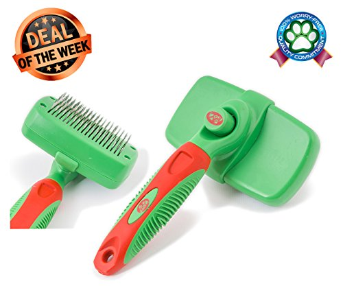2PET KNOTS AWAY Slicker Brush – Self Cleaning Dog Brush for Medium to Long Hair – Dog Brush for All Sizes & Breeds Grooming Brush to Remove Mats & Tangles, Reduce Shedding – Small Size, ()