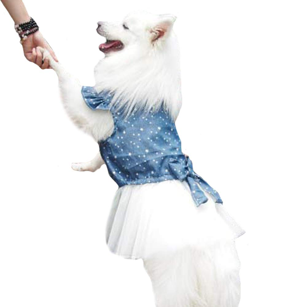 FLAdorepet Polka Dot Big Large Dog Princess Dress Tutu Skirt Golden Retriever Pitbull Summer Dog Clothes Hoodie Costume (XXXXL, Blue)