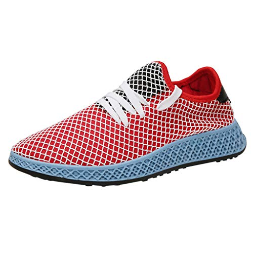 - JJLIKER Sports Sneakers for Men Mesh Breathable Comfort Fashion Youth Big Boys Teen Trail Walking Shoes Black White Red