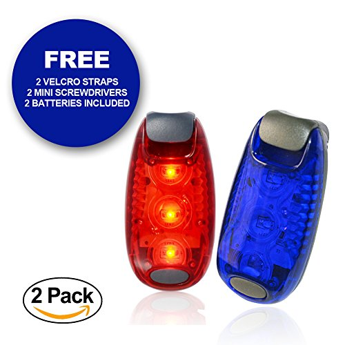 ClipOn Safety Light | 2 Pcs Clip On Flashing Strobe Lights for Runner Bicycle Rider Dog Kid Walker Jogger | Super Bright Nightime Visibility Reflective Gear with Straps and Mini Screwdriver | Blue Red