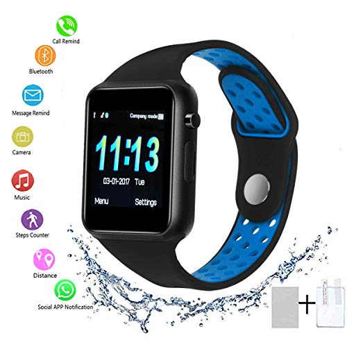 SUNETLINK Bluetooth Smart Watch with Touch Screen, Android Watch Phone Fitness Tracker with SIM/SD Card Slot, Water Resistance Smart Watches for Women Men (Blue)