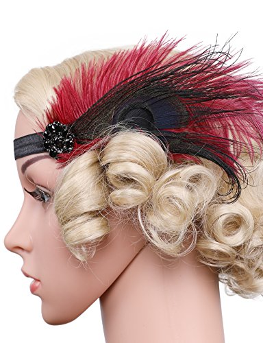 Diy Costume Gatsby (Flapper Girl 1920s Gatsby Headpiece Flapper Costume Crystal Feather Headpiece (Wine Red))