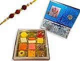 Sukhadia's Rakhi Gift Pack, Assorted Sweets with Rakhi, Festive Blue Raksha Bandan Box, 16oz