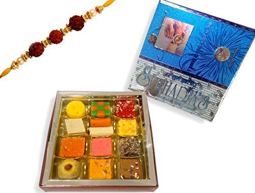 Sukhadia's Rakhi Gift Pack, Assorted Sweets with Rakhi, Festive Blue Raksha Bandan Box, 16oz by Sukhadia's