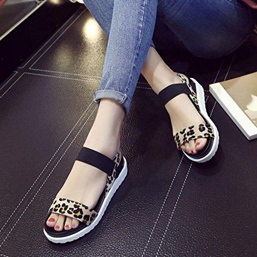 Elevin (tm) Kvinnor Sommarens Mode Peep-toe Låg Plattform Roman Flat Flip Flops Sandal Skor Brun