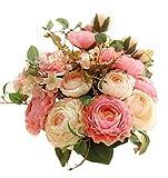 Artfen Artificial Flowers Fake Silk Hydrangea Flower Simulation Hand Tied Bouquet Lu Lotus Bouquet for Home Hotel Office Wedding Party Garden Craft Art Decor Approx 8.5'' in Diameter Pink 2