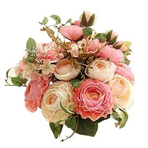 "Artfen Artificial Flowers Fake Silk Hydrangea Flower Simulation Hand Tied Bouquet Lu Lotus Bouquet for Home Hotel Office Wedding Party Garden Craft Art Decor Approx 8.5"" in Diameter Pink 2 19"
