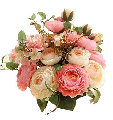Artfen Artificial Flowers Fake Silk Hydrangea Flower Simulation Hand Tied Bouquet Lu Lotus Bouquet for Home Hotel Office Wedding Party Garden Craft Art Decor Approx 8.5
