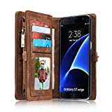 Leather Wallet Phone Case for Samsung Galaxy S7 Edge,Premium Zipper Flip Wallet Case Cover With Detachable Magnetic Hard Case,Brown