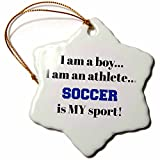 3dRose I Am a Boy, I Am an Athlete, Soccer Is My Sport, Black Blue Letters Snowflake Ornament, 3''