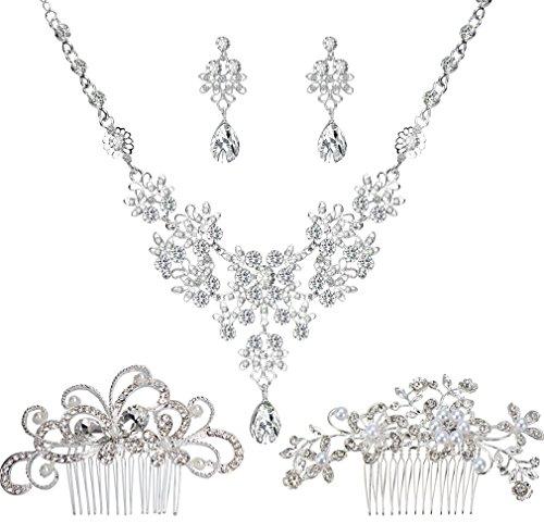 Jaciya 2pcs Bridal Wedding Hair Comb with 1 Set Wedding Necklace Earrings Alloy Rhinestone Crystal Necklace Head Pin Headpiece Bridal Wedding Jewelry (Bridal Diamond Jewelry)