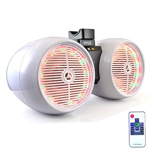 """Pyle Marine Wakeboard Tower Speakers - Waterproof 6.5"""" Dual Subwoofer Speaker Set & 1.0"""" Tweeters, LED Lights and 400 Watt Power - 2-Way Boat Audio System w/Mounting Bracket - PLMRWB852LEW (White) (Pyle Water Housing Stereo Resistant)"""