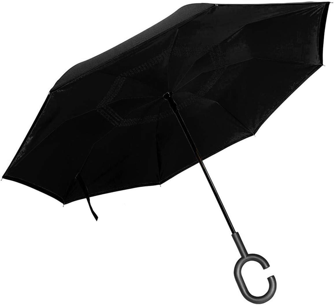 Simple Pattern Windproof Double Layer C-Shaped Handle Car Reverse Umbrella UV Protection /& Rain Unique Umbrella