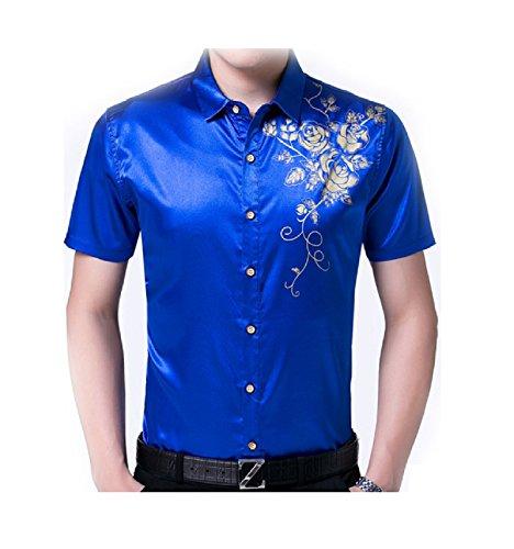 Herina, Men's Shirt Slim Business Short Sleeve Dress Shirts. (M, Blue)