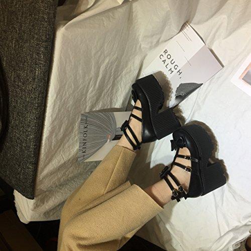 KHSKX-Im Schwarzen 8.5Cm Einzelne Schuhe Retro Schleife Schuhe Mit Dicken Hintern Und Hochhackigen Schuhen Thirty-eight